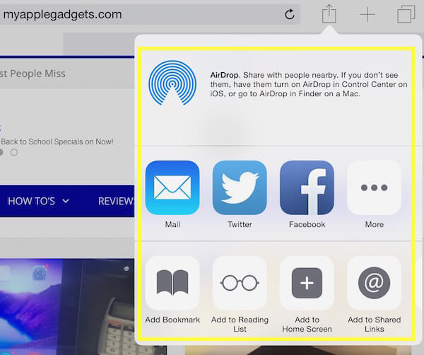 how to share to Facebook and Twitter from safari